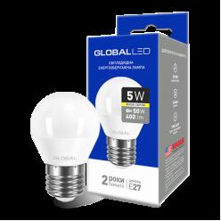 LED лампа GLOBAL G45 F 5W теплый свет E27 (1-GBL-141)